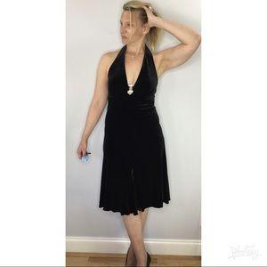 Vintage velvet rhinestone halter Marilyn dress